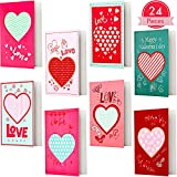 24 Pieces Valentine's Day Cards, Heart Greeting Card, Valentine...
