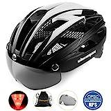 Shinmax Casque de vélo avec éclairage LED, Casque de vélo avec éclairage de sécurité Casque de vélo magnétique et écran Amovible Planche à roulettes Ski & Snowboard