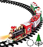 Aokesi Toy Train Set with Lights and Sounds - Christmas Train Set - 30' Diameter Round Railway Tracks Around The Christmas Tree Battery Operated Toys Xmas Train Gift for Kids, Boys & Girls