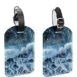 ATOMO Etiquetas de la bolsa de equipaje de cuero rugiendo olas de mar imagen