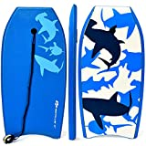 G Super Bodyboard Body Board EPS Core, IXPE Deck, HDPE Slick Bottom with Leash (Blue Shark, 37-inch)