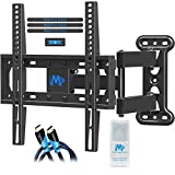 Mounting Dream Full Motion TV Mount for 26-55 Inches TVs, TV Bracket Kit Includes Screen Cleaning Gel & HDMI Cables, TV Wall Mount Bracket up to VESA 400x400mm and 60lbs loading, MD2377-KT