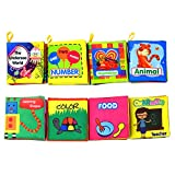 Coolplay Baby First Nontoxic Soft Cloth Book Set, Infants Crinkly Books Early Learning Toys for Toddlers - Pack of 8