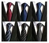 WeiShang Lot de 6 cravates en jacquard pour homme 100 % soie