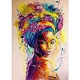Kits de Pintura de Bricolaje por números Mujer Africana DIY Paint by Number Kits Decoración para el hogar Imagen de Pared Valor Regalo40x60cm sin Marco