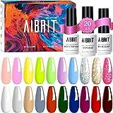 Aibrit 24 Pcs Gel Nail Polish Kit, Soak Off Nail Gel Polish Full Colors Kit with Glossy & Matte Top and Base Coat Gel Polish Starter Kit Best Nail Polish Set for Manicure Nail Art Salon/Home