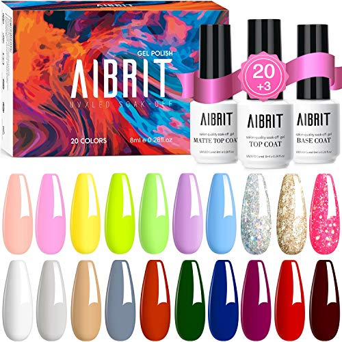 Aibrit 23 Pcs Gel Nail Polish Kit, Soak Off Nail Gel Polish Full Colors Kit with Glossy & Matte Top and Base Coat Gel Polish Starter Kit Best Nail Polish Set for Manicure Nail Art Salon/Home