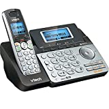 VTech DS6151 2-Line Cordless Phone System for Home or Small Business with Digital Answering System & Mailbox on each line, Black/silver (Renewed)