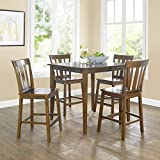 Contemporary 5-Piece Counter-Height Dining Set, Brown