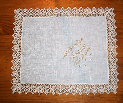 PRIMERAEDAD/Pañuelo bautizo de lino beige personalizado con
