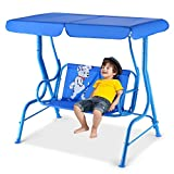 Happygrill Mini Patio Swing 2 Seats Porch Swing with Safety Belt Outdoor Lounge Chair Hammock with...