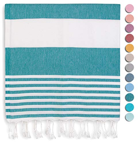 Rumi&Shams Turkish Beach Towels | %100 Cotton Boho Beach Towels for Women | Oversized Beach Towel (38x71) | Sand Free and Quick Dry Towel | Ultra Soft and Lightweight | 12 Fashion Colors (Teal)
