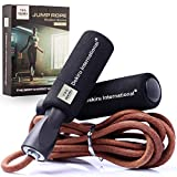 DEKIRU Jump Rope • Jump Ropes (Leather) • Skipping Rope • Speed Rope • Exercise Jump Rope • Adult Jump Rope • Jump Rope for Women Men Workout • Adjustable Fitness Jump Rope for Home Gym • Gift Box
