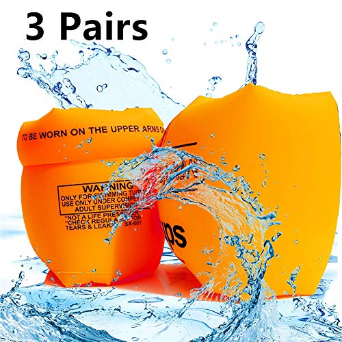 HOMEGOAL 3 Pairs Floaties Inflatable Swim Arm Bands Floatation Sleeves Swimming Rings Floats Tube Armlets for Kids and Adult (Orange)
