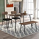 4 Piece Dining Table Set Kitchen Table with 2 Padded Chairs and 1 Bench for Home, Kitchen, Dining Room, Brown