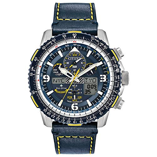 Citizen Eco-Drive Promaster Skyhawk A-T Quartz Mens Watch, Stainless Steel with Leather strap, Pilot watch, Blue (Model: JY8078-01L)
