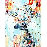 Animal Fauve coloréAnimal Fauve coloré5D DIY numérique Toile peinture_PréimpressionToile_Peinture DIY de chiffres pour adultes Kit peinture DIY à l'huile pour Enfants débutant—40x50cm sin Marco