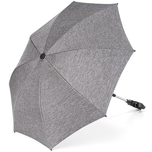 Universal Sonnenschirm Sonnenschutz für Kinderwagen & Buggy - UV Schutz 50+ / 73 cm Durchmesser / biegsam / Universalhalterung für Rund- und Ovalrohre - Melange Grau