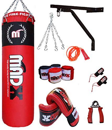 Saco de boxeo pesado MADX con relleno de 152,4 cm (incluye cadena, soporte, guantes y cuerda)