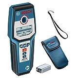 Bosch Professional 601081000 Professional Digital Detector GMS 120 (1 x 9 V Block Battery, Protective case, max. Detection Depth in Steel/Copper/Live Cables: 120/80/50 mm), 9 V, Black/Blue