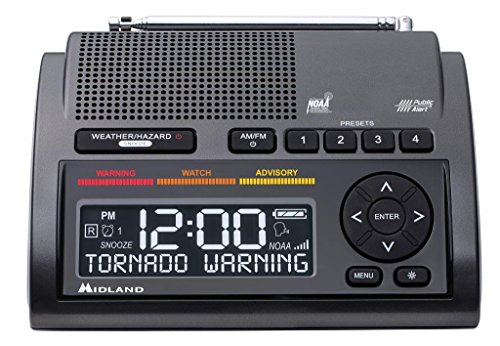 Midland - WR400, Deluxe NOAA Emergency Weather Alert Radio - S.A.M.E. Localized Programming, 80+ Emergency Alerts, & Alarm Clock w/ AM/FM Radio