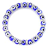 JewelrieShop Turkish Evil Eye Bracelet Murano Glass Beads Beaded Clear Crystal Spacer Bracelet for Women Girls (8mm Blue Eye Beads)