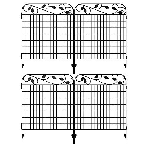 "Amagabeli Metal Garden Fence Border 44""x 36""x 4Pack Heavy Duty..."