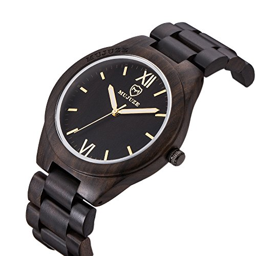 Wood Watch, ShiLiTech Natural Mens Wooden Watch Wooden Watch Analog Quartz Wood Wrist Watch