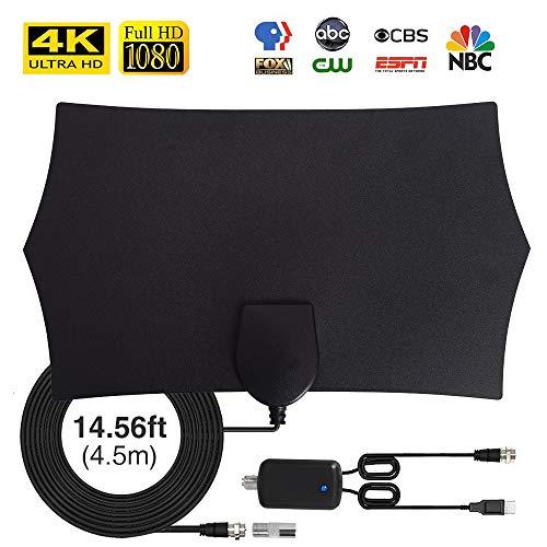 TV Antenne, max. 120 Meilen / 200 km Laufzeit DVB-T & DVB-T2 Antennen, mit Signalverstärker und 4,5 m Koaxialkabel VHF/UHF/FM, unterstützt Smart TV HD 4K 1080P