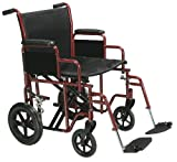 Drive Medical TR22-R Heavy Duty Transport Chair, 22 Inch, Red/Black