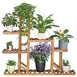 UNHO Étagère à Fleurs Bois Sur Pied, Porte Pot de Plante Avec 8 Étages, Étagère Echelle Décorative Pour Maison Jardin Balcon Terrasse - 115 x 97 x 25cm
