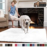 GORILLA GRIP Original Faux-Chinchilla Area Rug, 4x6 Feet, Soft and Cozy High Pile Washable Kids Carpet, Modern Rugs for Floor, Luxury Shaggy Carpets for Floors, Bed and Living Room, White