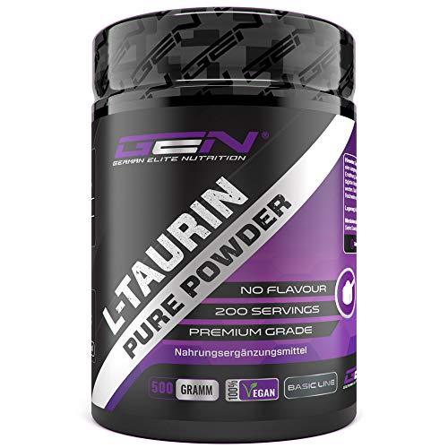 Taurin Pulver - 500 g - Optimale Löslichkeit - Vegan - Rein & ohne Zusätze - Laborgeprüfte Premium Qualität - L-Taurin Aminosäure - German Elite Nutrition