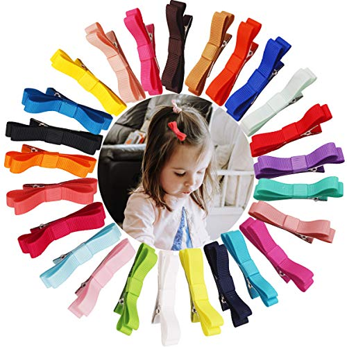 50PCS/25Pairs Baby Hair Clips 2.36Inch Grosgrain Ribbon Tiny Hair Bow Alligator Hair Clips Fully Lined for Fine Hair Infants Baby Girls Toddlers Kids