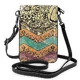 Lawenp Vintage Floral Pattern Crossbody Monedero para teléfono Pequeño Mini bolso de hombro Bolsa para teléfono celular Cartera de cuero para mujeres y niñas