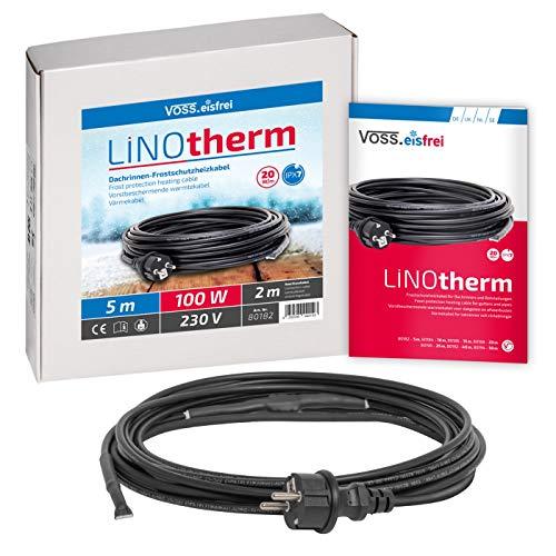 VOSS.eisfrei Heizkabel Linotherm | 5 Meter lang | besonders hohe Heizleistung | Frostschutz für Dachrinnen und Wasserleitungen | Rohrbegeleitheizung Dachrinnenheizung Heizleitung Frostschutzkabel