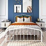 Albearing Metal Platform Bed Frame, Morden Design, Heavy Duty Steel Slat and 9-Leg Support (White, Full)