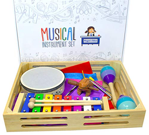 Magpie's Office Children's Wooden Musical Instrument Set – in Tune Glockenspiel (Xylophone), Mara…