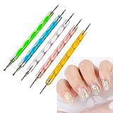 Ealicere - Juego de 5 bolígrafos de doble cara con puntos para uñas, kit de manicura para ...