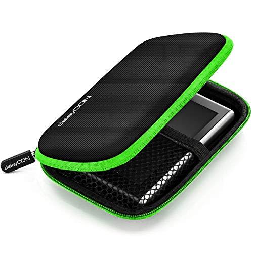 deleyCON Navi Tasche Navi Case Tasche für Navigationsgeräte - 4,3 Zoll & 5 Zoll (14,6x9,3x3,4cm) - Robust Stoßsicher 2 Innenfächer - Grün