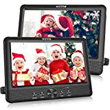 WONNIE 10.5' Dual Portable DVD Player for Car Twins CD Players Play Same or Two Different Movies with 5-Hour Rechargeable Battery,2 Mounting Brackets, Support USB/SD Card Reader (2 X DVD Players)