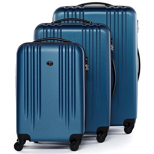 FERG set di 3 valigie viaggio Marsiglia - bagaglio rigido dure leggera 3 pezzi valigetta 4 ruote blu
