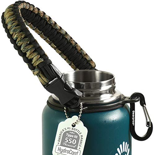 Gearproz Handle for Hydro Flask, Nalgene, Takeya - America's No. 1 Paracord Water Bottle Carrier with Safety Ring - Fits Wide Mouth 12 oz to 64 oz Flasks (Forest Camo)