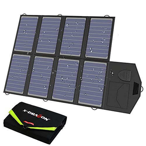 X-DRAGON Solar Charger, 40W Solar Panel Charger (5V USB with SolarIQ + 18V DC) Water Resistant Charger