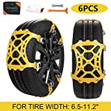 SUPTEMPO Car Snow Chains, 6Pcs Emergency Anti Slip Tire Traction Chains Upgraded TPU Snow Chain for Light Truck/SUV/ATV Winter Universal Tire Security Chains (Tire Width 165-285mm/6.5-11.2'')