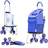 dbest products Stair Climber Bigger Trolley Dolly, Blue Shopping Grocery Foldable Cart Condo Apartment