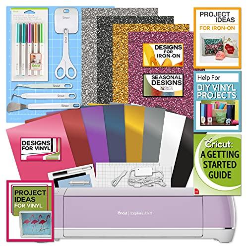 Cricut-Explore-Air-2-Bundle-Iron-On-Vinyl-Pack-Tools-Pen-Design-Guide-Lilac