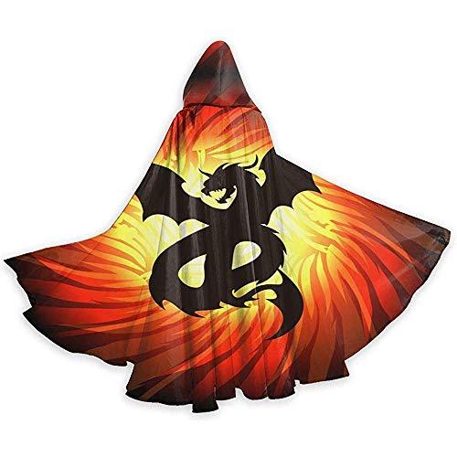 Dragon in Whirlpool of Fire Adulto Halloween Mantello con Cappuccio Costume da Mago Tunica Felpe con...