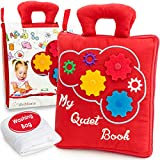 deMoca Quiet Book for Toddlers - Montessori Basic Skills Activity - Soft Travel Toy & Educational Busy Book for 2 3 Year Old Boys & Girls + Zipper Bag (Red)