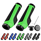 LYCAON Bike Bicycle Grips (Color-Blocking) Anti-Slip Bicycles Bikes Handlebar Grips Fits MTB/BMX/Mountain/Downhill/Foldable/Urban Bicycles/Scooter (Green, General End Caps)